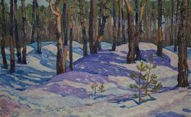Зимний лес 50-80 картон, масло