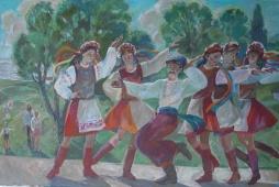 Веселый танец 80-110 холст, масло