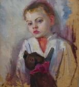 Портрет малыша с игрушкой  48-43 см.  картон масло 1960-е