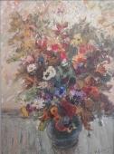 Осенние цветы 45-65 см., картон, маслом 1976 год
