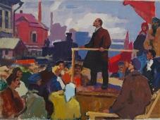 Ленин с крестьянами  35-48 см. картон масло  1970е