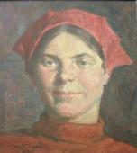 Девушка в красной косынке 54-50 картон, масло 1980г.
