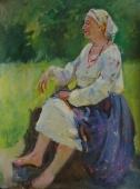 Портрет женщины которая отдыхает на пеньке 79-60 см. холст масло 1970е