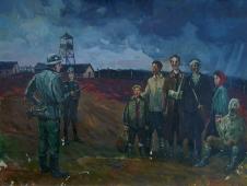 Пересельной лагерь военнопленных с.Николаевка 75-100 холст, масло