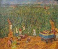 Виноградоры 160-180 см. холст масло 1980-е