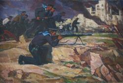 Моряки в бою 100-150 холст, масло 1971г.