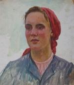 Женский портрет 40-35 см. картон масло1960е
