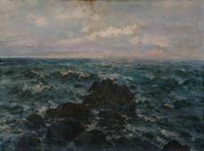 Неспокойное море  76-102 см. холст масло 1961г.