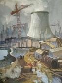 Индустриальный пейзаж, строительство 70-50 см., холст, масло 1970 е г.