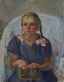 Портрет девочки 66-50 см. холст масло 1970г