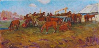 Лошади отдыхают  35-70 см. картон масло