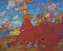 Речной порт 120-150 холст, масло