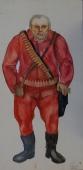 Портрет охотника  50-25 см.  бумага акварель 1980г