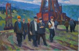 Экиз   Нефтянники  28-4 см. картон масло  1980е
