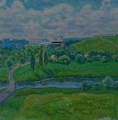 Околица городка  75-75 см. холст масло 1983г.