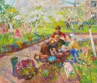 Садят цветы 120-140 холст, масло 1964г.