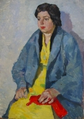 Женщина в желтом платье  70-49 см.  картон масло 1968г