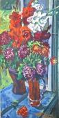 Цветы на окне 100-52 холст, масло