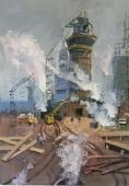 Индустриальный пейзаж 70-50 см., холст, масло 1970-е г.
