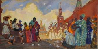 Фестиваль 1957г. 63- 126 см. холст масло 1963г.