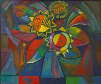Цветы 50-60 картон, масло 2007г.