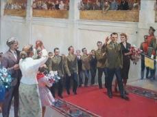 Гагарин 150-200 см., холст, масло 1966г