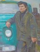Колхозный шофер 129-99 холст, масло 1976г.