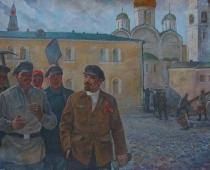 Ленин на субботнике 160-200 холст, масло 1986г.