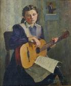 Девушка с Гитарой  92-76 см. холст масло 1952 г.