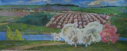 Сады цветут 100-250 см. холст  масло 1970е