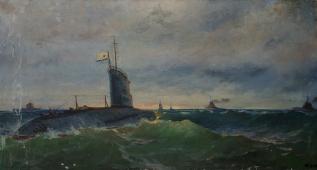 Морской бой 80-150 см. холст масло