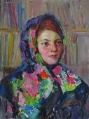 Женский портрет  56-43 см. картон масло 1960е