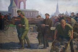 Ленин на Всероссийском субботнике 140-200 см. холст масло 1970е