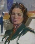 Женщина в платье с зеленым воротничком  50-40 см.  картон масло 1971г