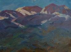 Верхушки гор  22-31 см. картон масло 1970е