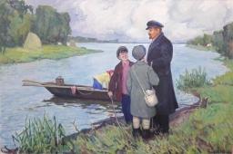 Ленин с детьми 100-150 см. холст масло 1960-е г.