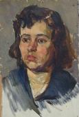 Портрет девушки  37-24см.  картон масло 1958г