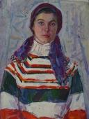Женский портрет  65-49 см. картон масло 1979г