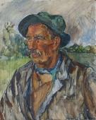 Портрет рыбака 50-41см.  картон масло 1976г