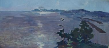 Волга в Ульяновске  70-150 см. холст масло  1967г