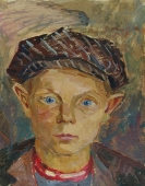 Портрет мальчика  с голубыми глазами 33,5-26 см.  картон масло 1974г