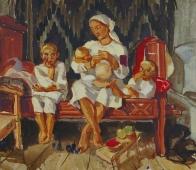 Семья 49,5-56,5 см.  картон масло 1970 е