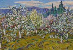 Яблони цветут 90-130 холст, масло