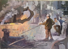 Тяжелый труд сталевара 50-70 см., холст, масло 1970 е г.