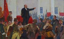 Ленин с народом  25-40 см. картон масло  1970е