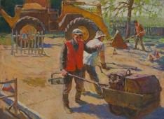 Ложат асфальт 90-122 см. холст масло