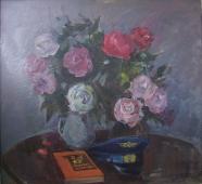Натюрморт Цветы герою труда 100-100 см. холст масло 1981