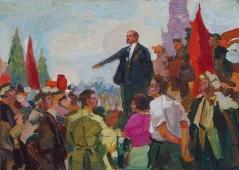 Ленин с рабочими  30-47 см. картон масло 1970е