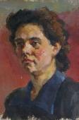 Портрет женщины бордовый фон31-21см. холст масло 1957г