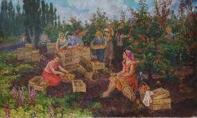 Уборка Яблок 130-220        см. холст масло 1973г.